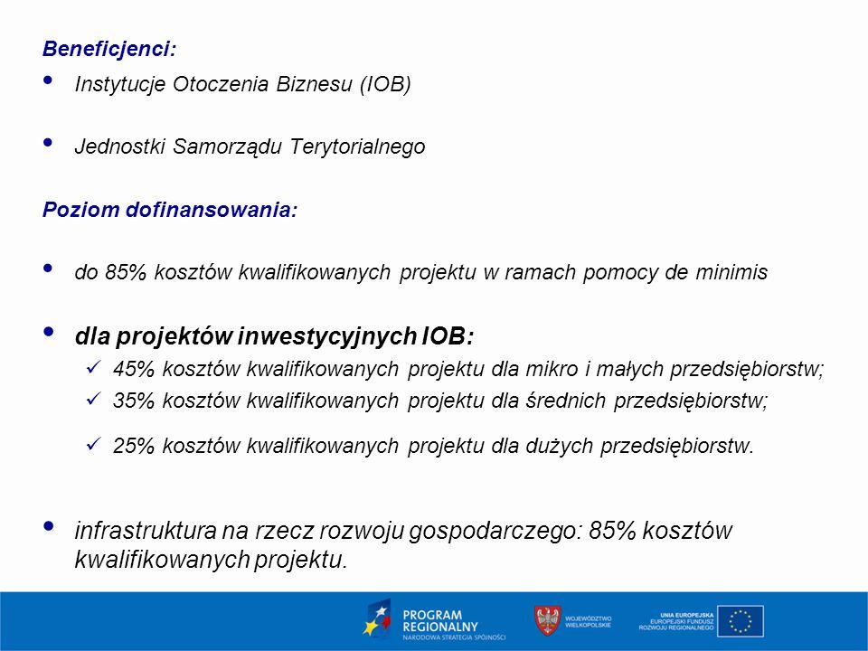 dla projektów inwestycyjnych IOB: