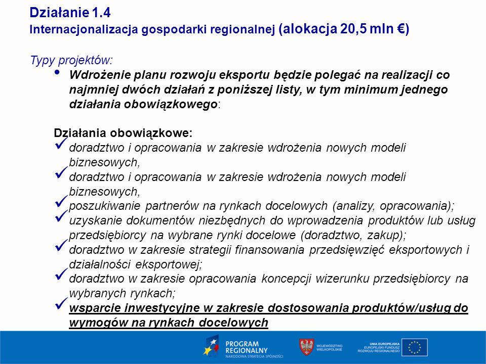 1414 Działanie 1.4. Internacjonalizacja gospodarki regionalnej (alokacja 20,5 mln €) Typy projektów: