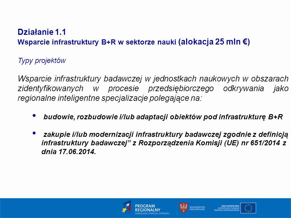 5 Działanie 1.1. Wsparcie infrastruktury B+R w sektorze nauki (alokacja 25 mln €) Typy projektów.