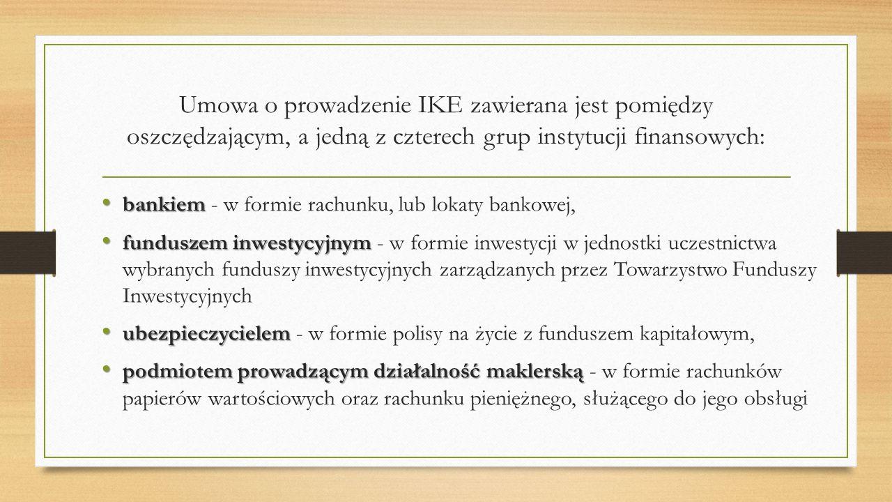 Umowa o prowadzenie IKE zawierana jest pomiędzy oszczędzającym, a jedną z czterech grup instytucji finansowych: