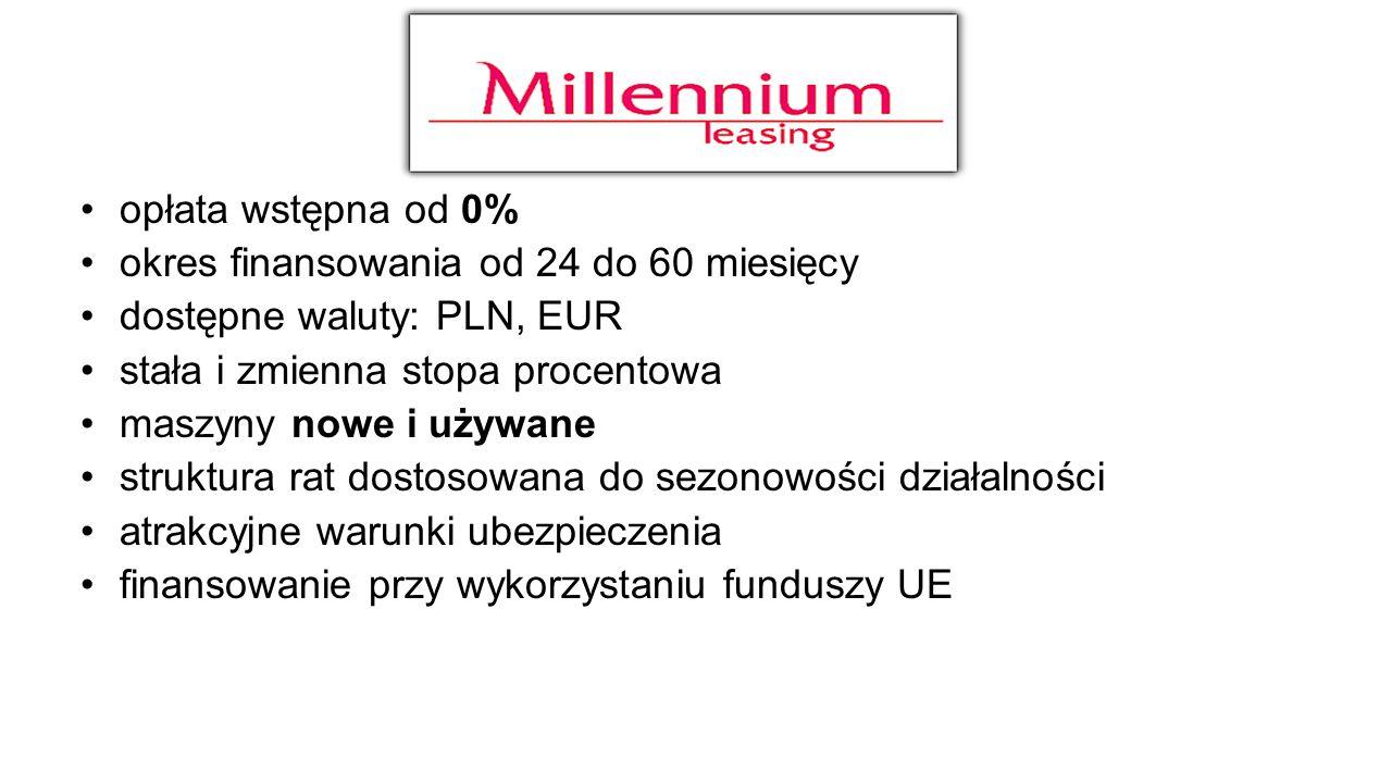 opłata wstępna od 0% okres finansowania od 24 do 60 miesięcy. dostępne waluty: PLN, EUR. stała i zmienna stopa procentowa