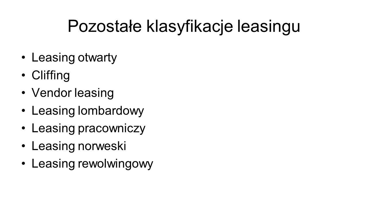 Pozostałe klasyfikacje leasingu