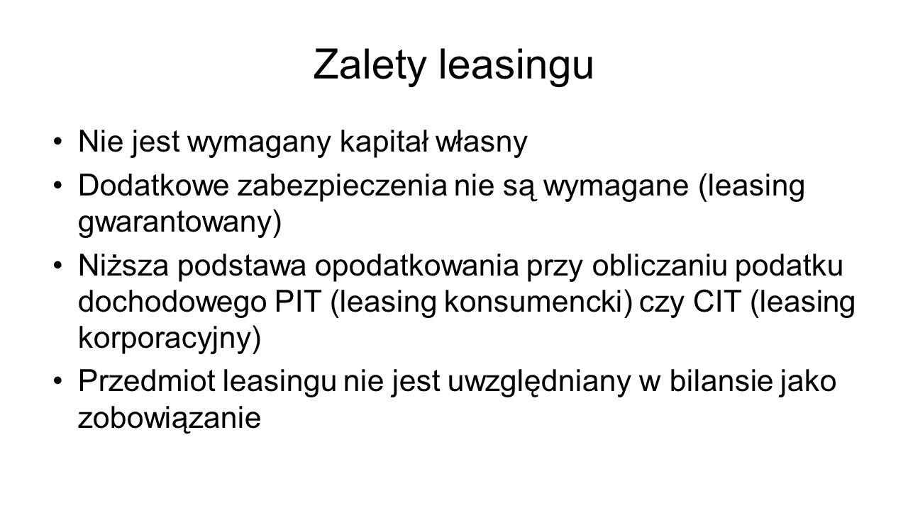 Zalety leasingu Nie jest wymagany kapitał własny