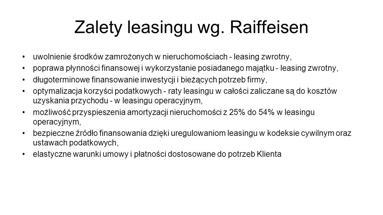 Zalety leasingu wg. Raiffeisen