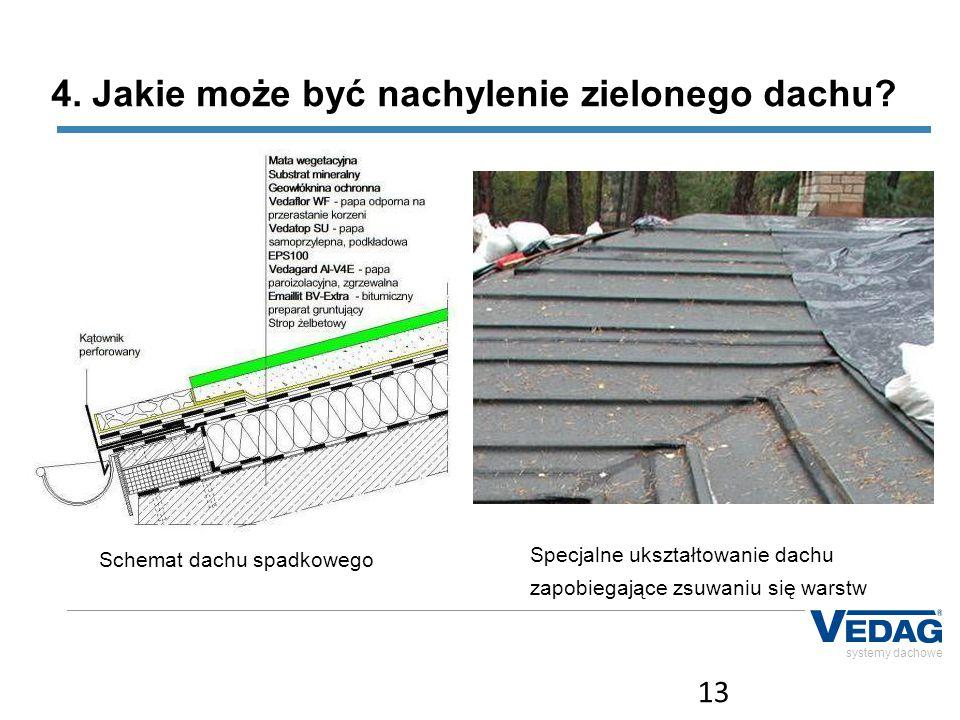 4. Jakie może być nachylenie zielonego dachu