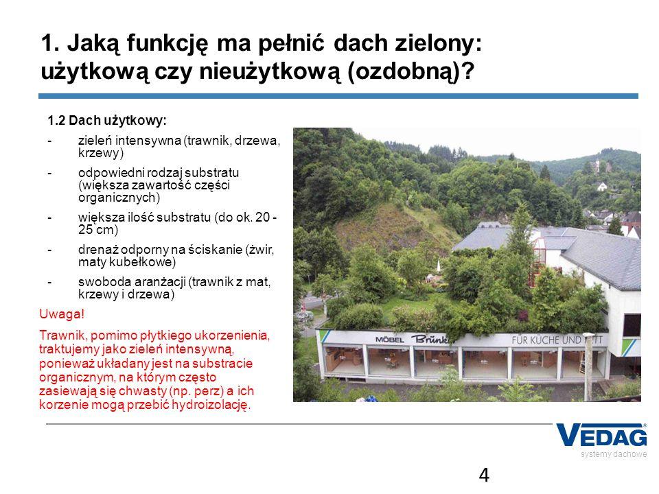 4 1. Jaką funkcję ma pełnić dach zielony: użytkową czy nieużytkową (ozdobną) 1.2 Dach użytkowy: zieleń intensywna (trawnik, drzewa, krzewy)