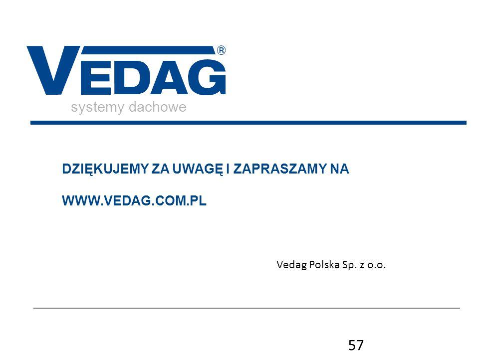 systemy dachowe DZIĘKUJEMY ZA UWAGĘ I ZAPRASZAMY NA WWW.VEDAG.COM.PL