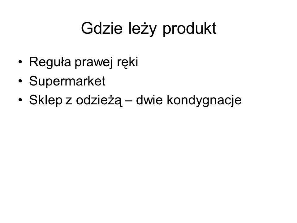 Gdzie leży produkt Reguła prawej ręki Supermarket