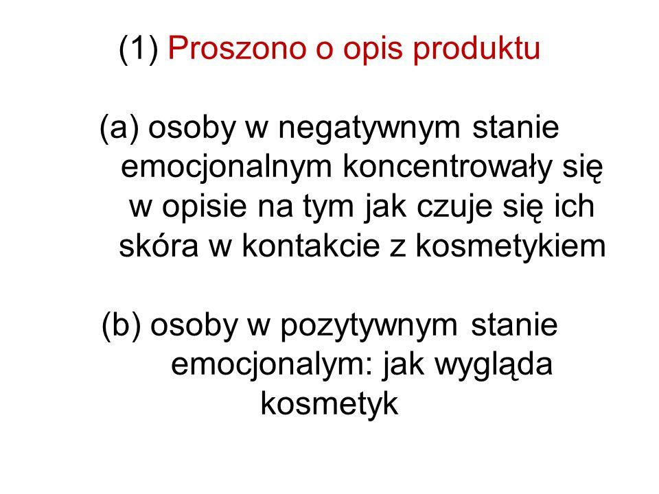 (1) Proszono o opis produktu (a) osoby w negatywnym stanie