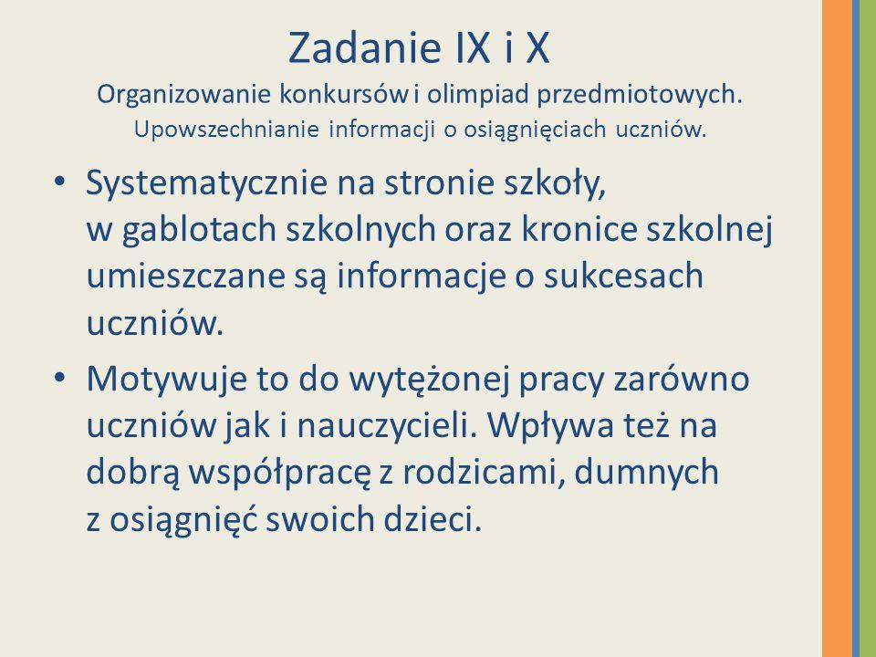 Zadanie IX i X Organizowanie konkursów i olimpiad przedmiotowych