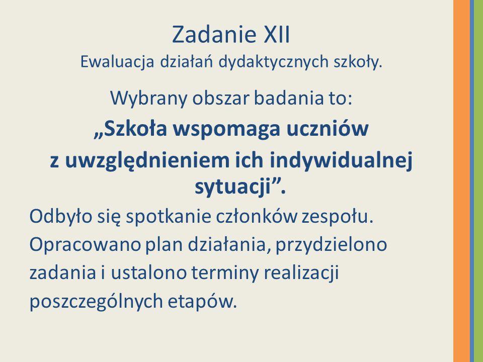 Zadanie XII Ewaluacja działań dydaktycznych szkoły.