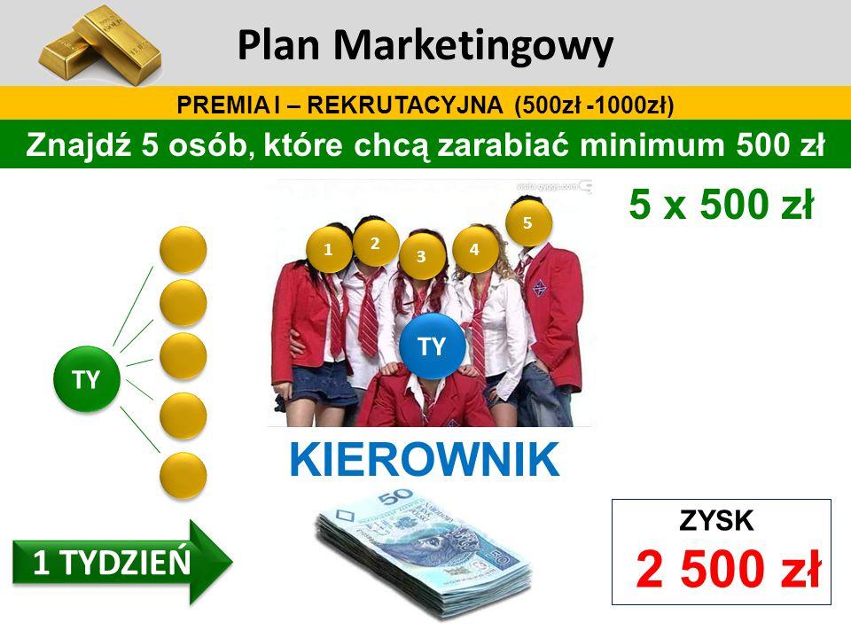 Plan Marketingowy KIEROWNIK 5 x 500 zł 1 TYDZIEŃ