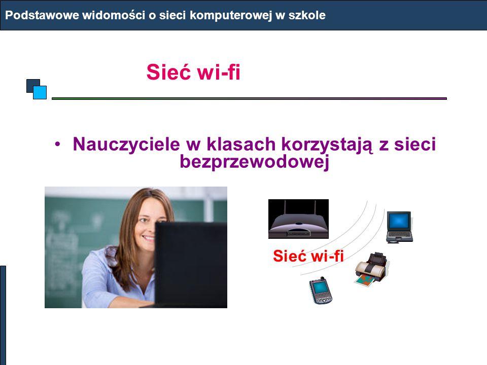 Nauczyciele w klasach korzystają z sieci bezprzewodowej