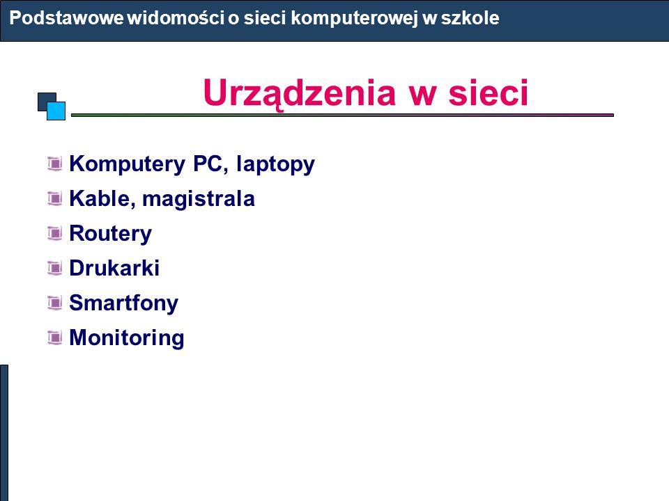 Urządzenia w sieci Komputery PC, laptopy Kable, magistrala Routery
