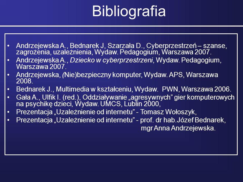 Bibliografia Andrzejewska A., Bednarek J, Szarzała D., Cyberprzestrzeń – szanse, zagrożenia, uzależnienia, Wydaw. Pedagogium, Warszawa 2007.