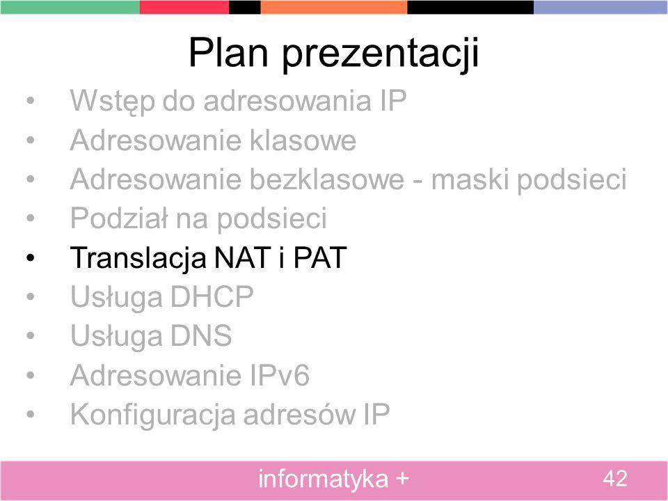 Plan prezentacji Wstęp do adresowania IP Adresowanie klasowe