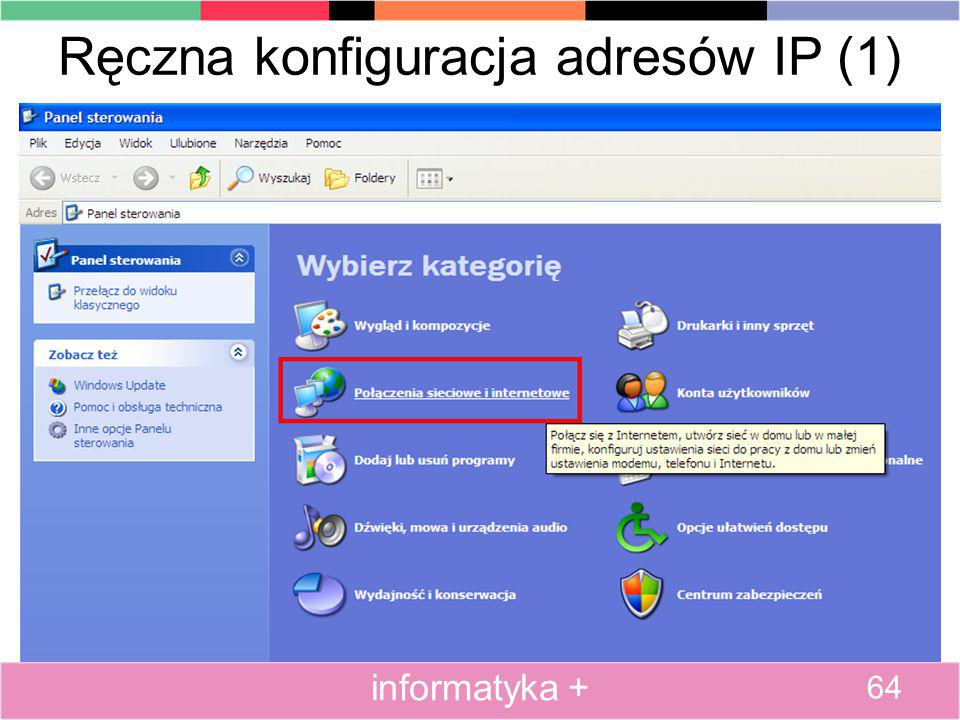 Ręczna konfiguracja adresów IP (1)