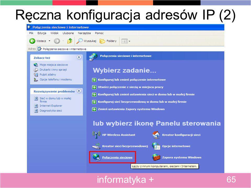 Ręczna konfiguracja adresów IP (2)