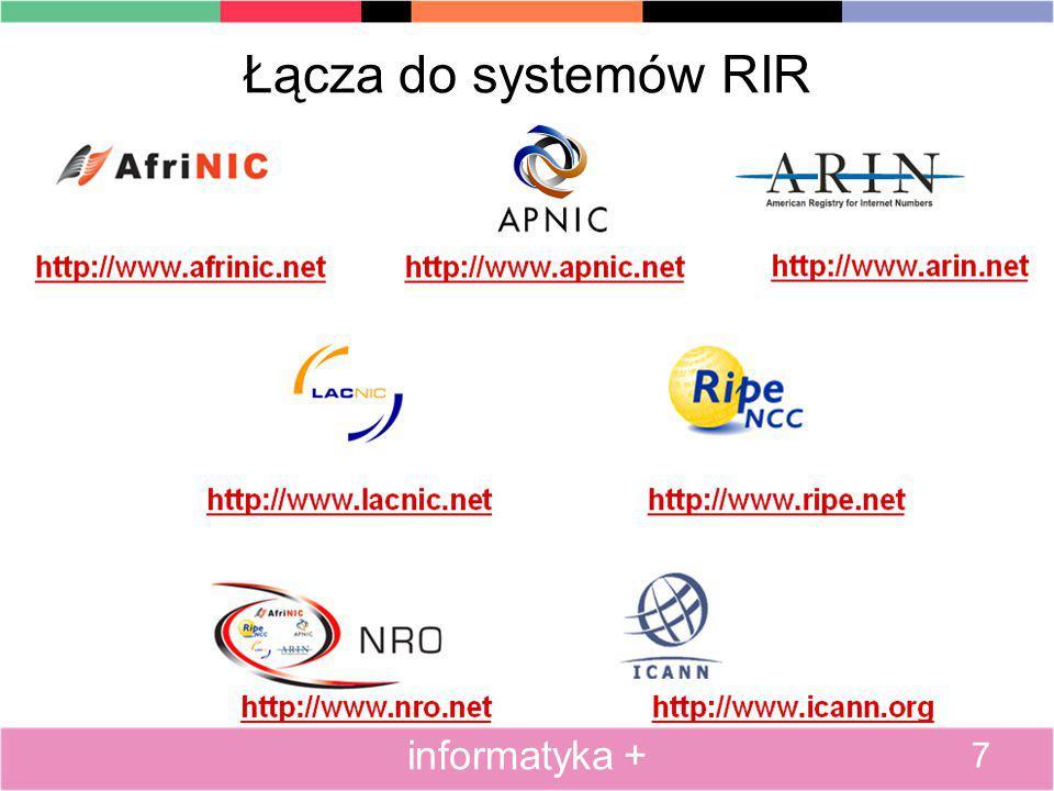 Łącza do systemów RIR informatyka + 7