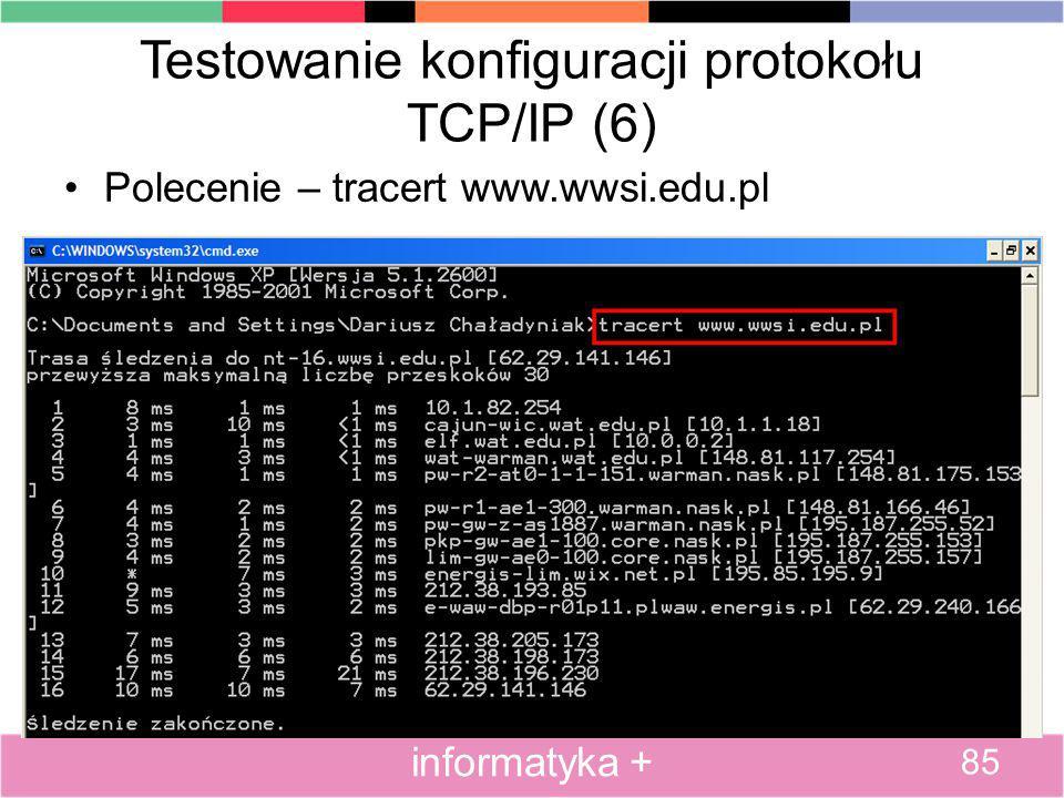 Testowanie konfiguracji protokołu TCP/IP (6)