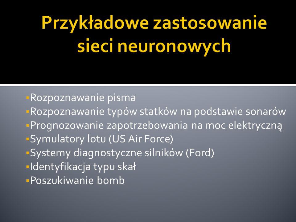 Przykładowe zastosowanie sieci neuronowych