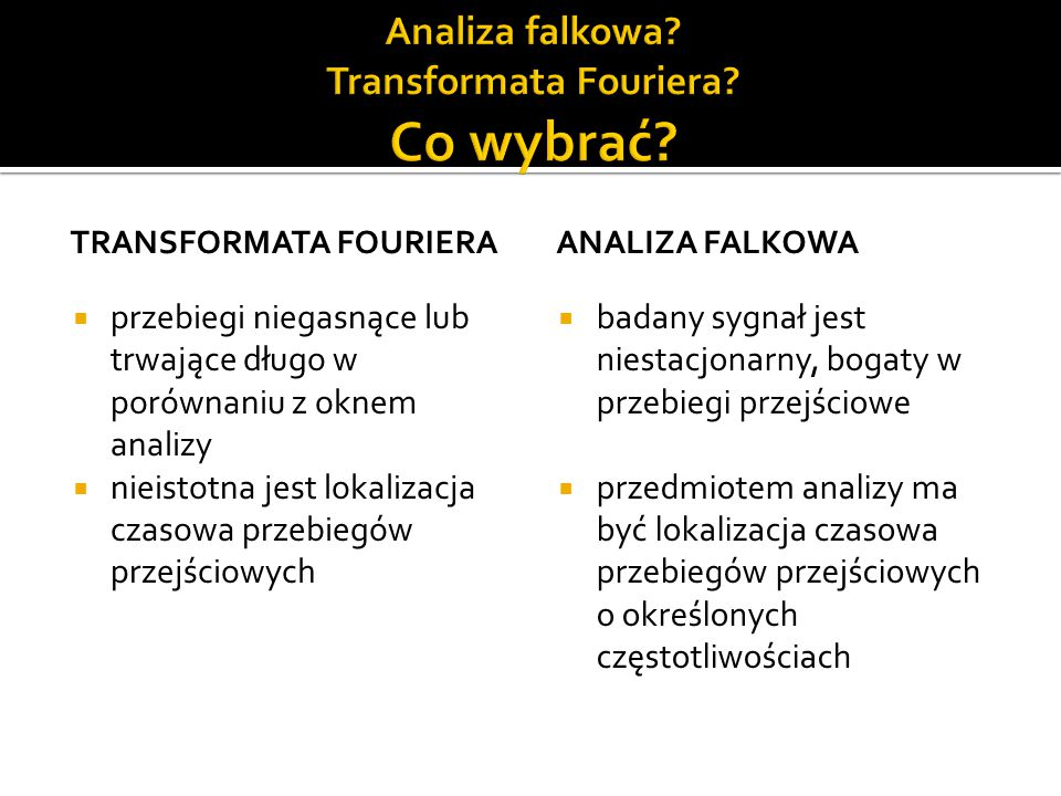 Analiza falkowa Transformata Fouriera Co wybrać