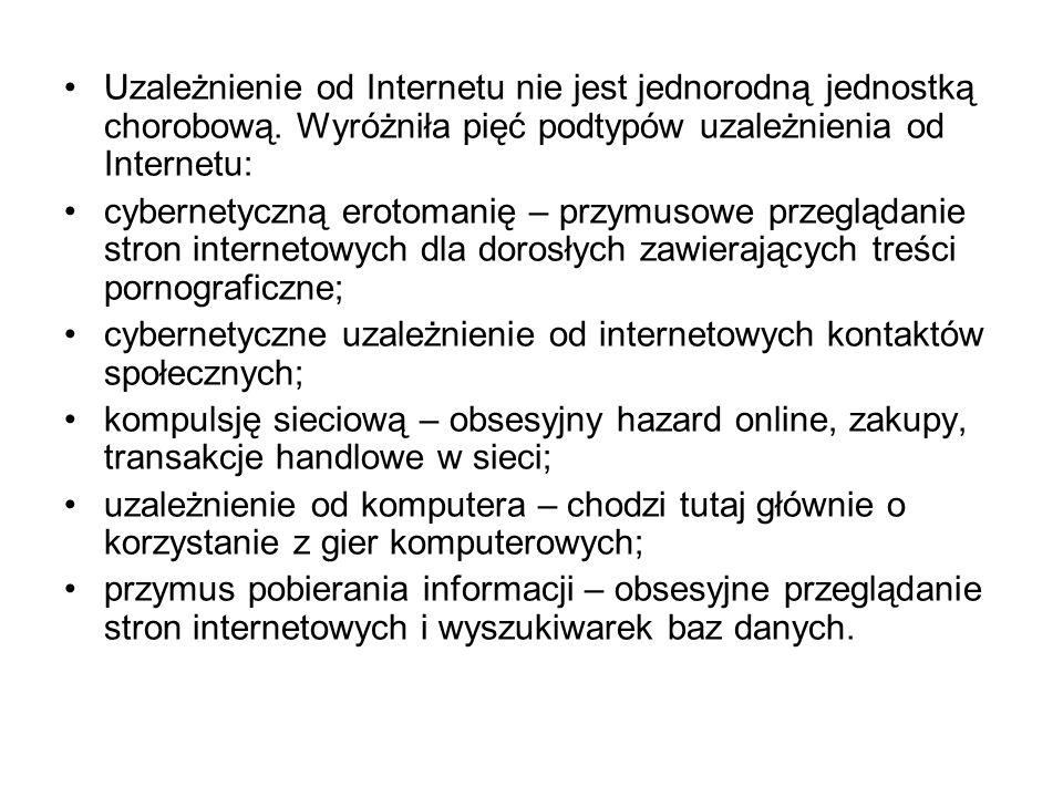 Uzależnienie od Internetu nie jest jednorodną jednostką chorobową
