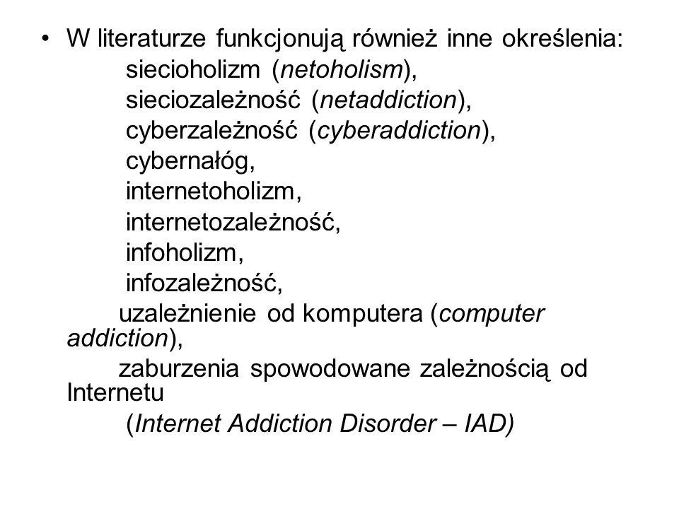 W literaturze funkcjonują również inne określenia:
