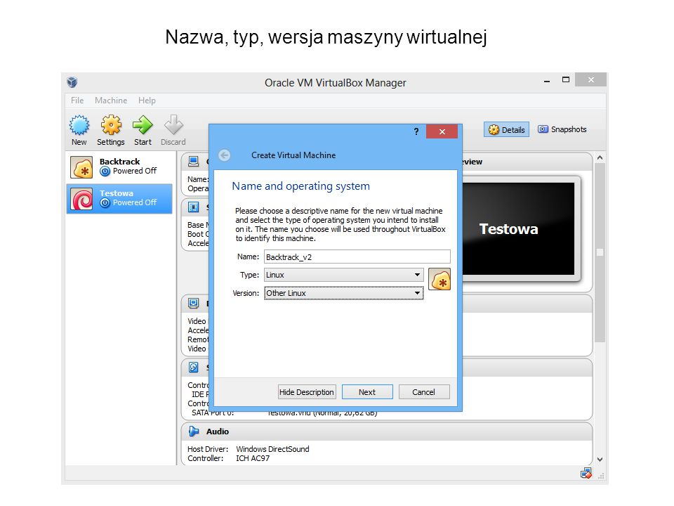 Nazwa, typ, wersja maszyny wirtualnej