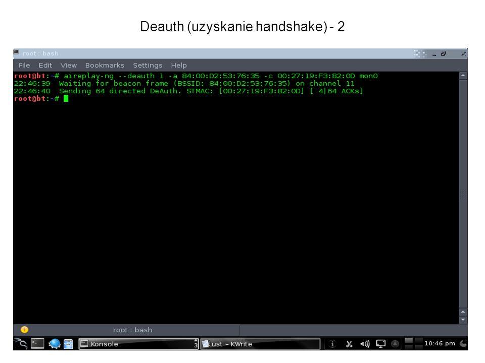 Deauth (uzyskanie handshake) - 2