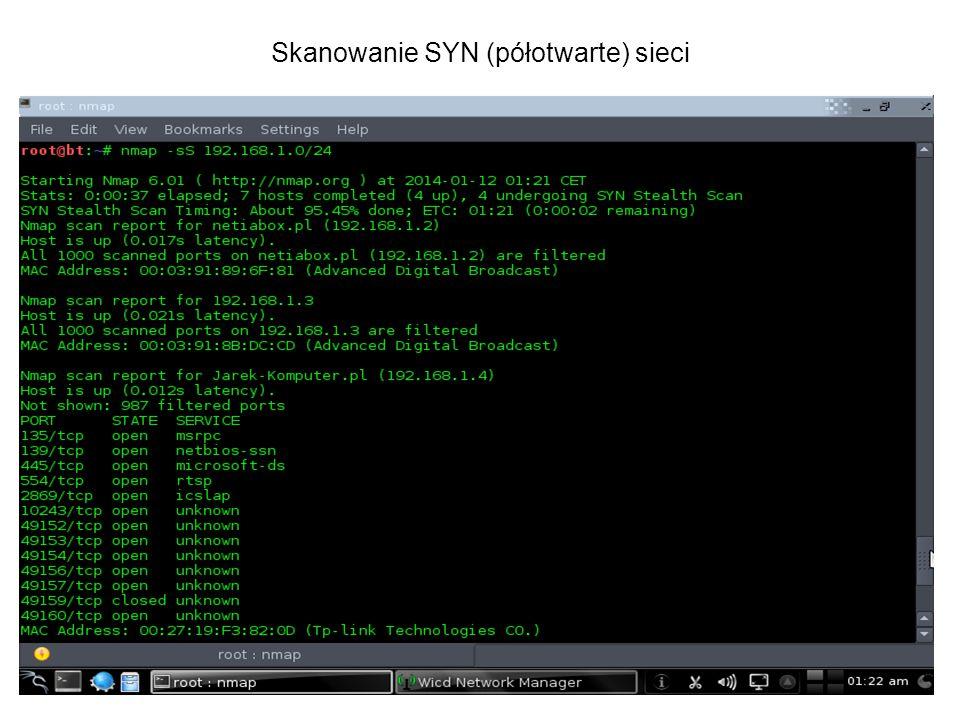 Skanowanie SYN (półotwarte) sieci