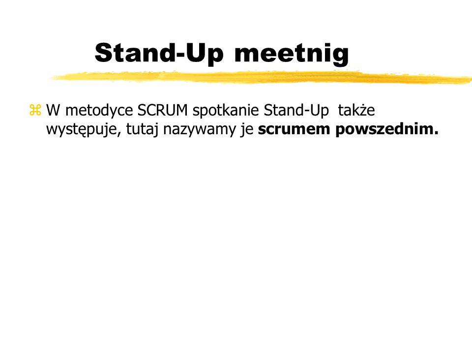 Stand-Up meetnig W metodyce SCRUM spotkanie Stand-Up także występuje, tutaj nazywamy je scrumem powszednim.