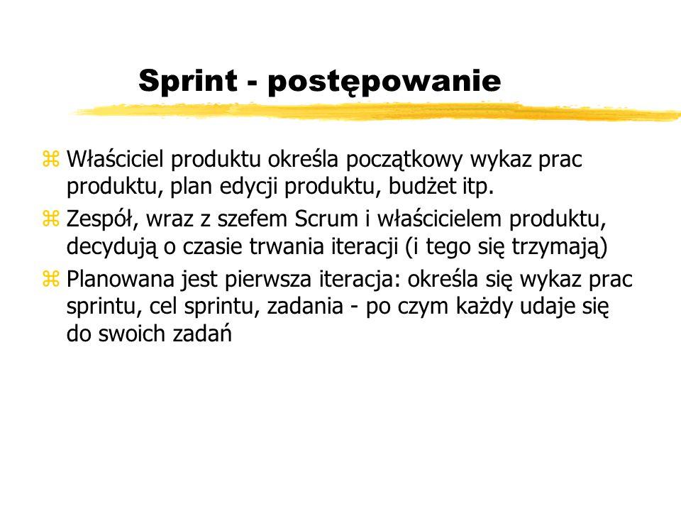 Sprint - postępowanie Właściciel produktu określa początkowy wykaz prac produktu, plan edycji produktu, budżet itp.