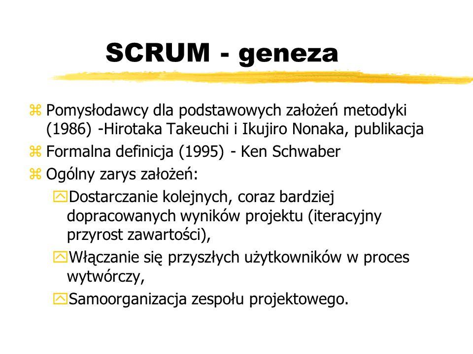 SCRUM - geneza Pomysłodawcy dla podstawowych założeń metodyki (1986) -Hirotaka Takeuchi i Ikujiro Nonaka, publikacja.