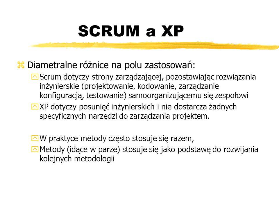SCRUM a XP Diametralne różnice na polu zastosowań: