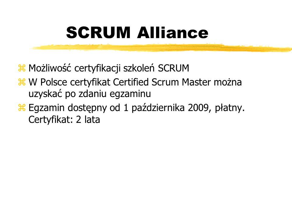 SCRUM Alliance Możliwość certyfikacji szkoleń SCRUM