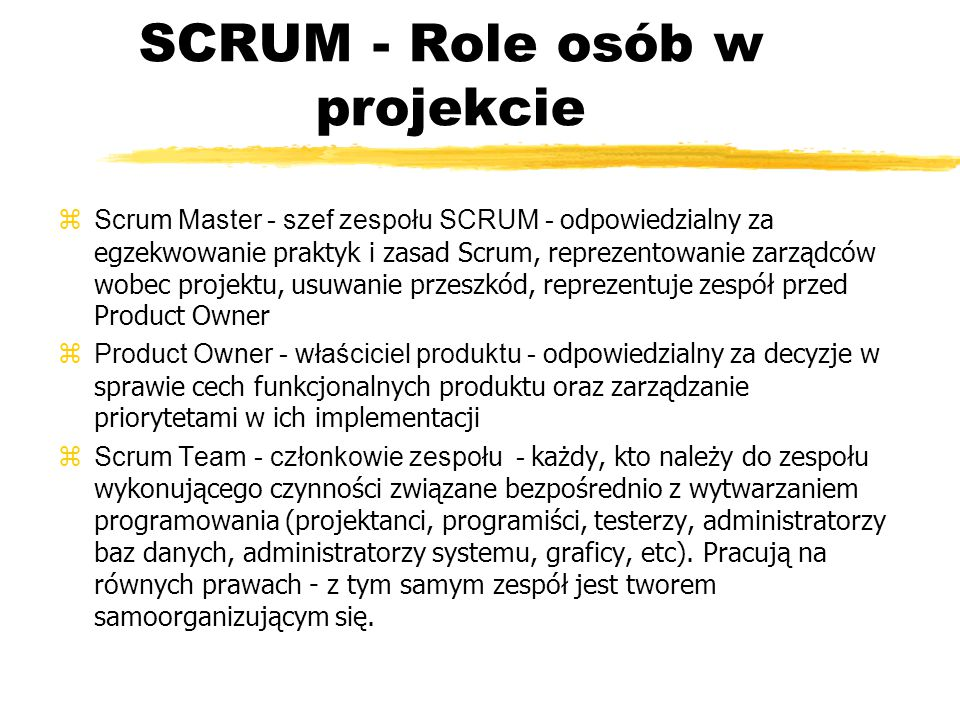 SCRUM - Role osób w projekcie