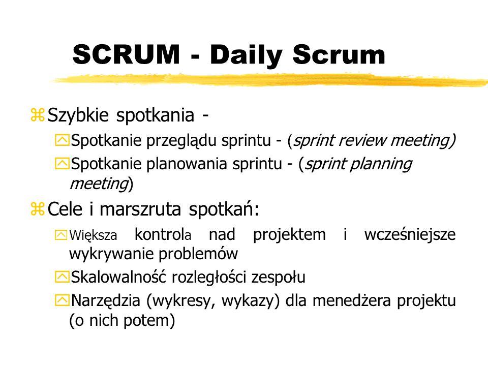 SCRUM - Daily Scrum Szybkie spotkania - Cele i marszruta spotkań: