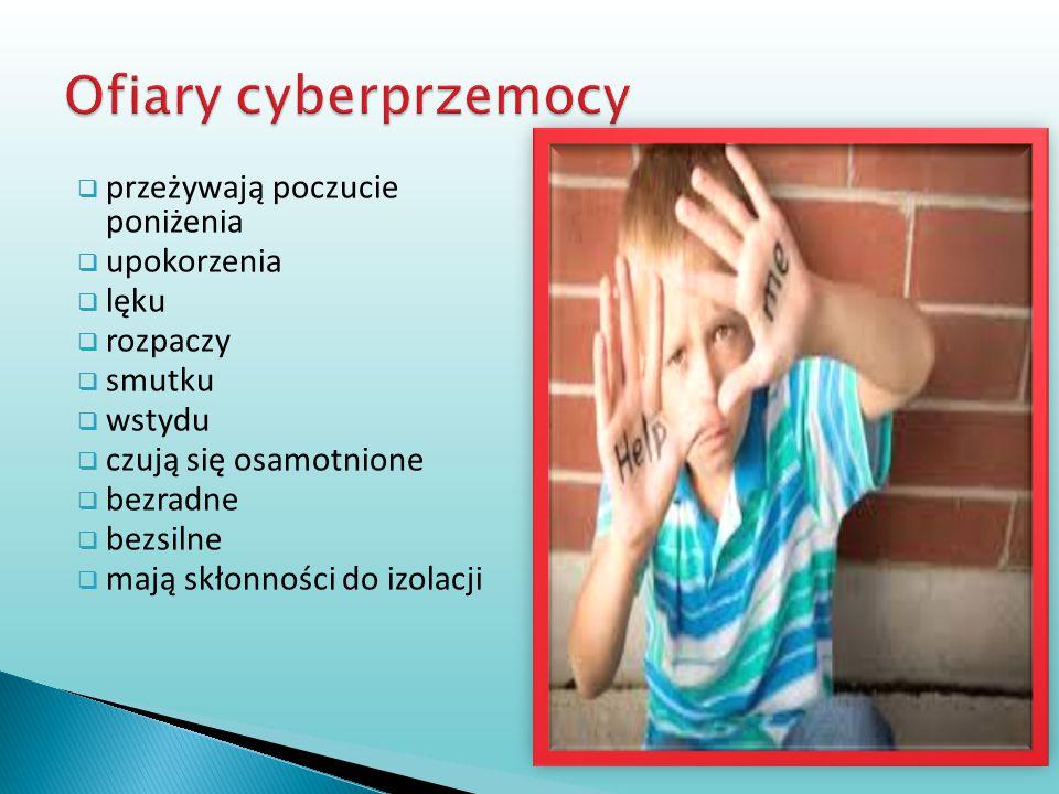 Ofiary cyberprzemocy przeżywają poczucie poniżenia upokorzenia lęku