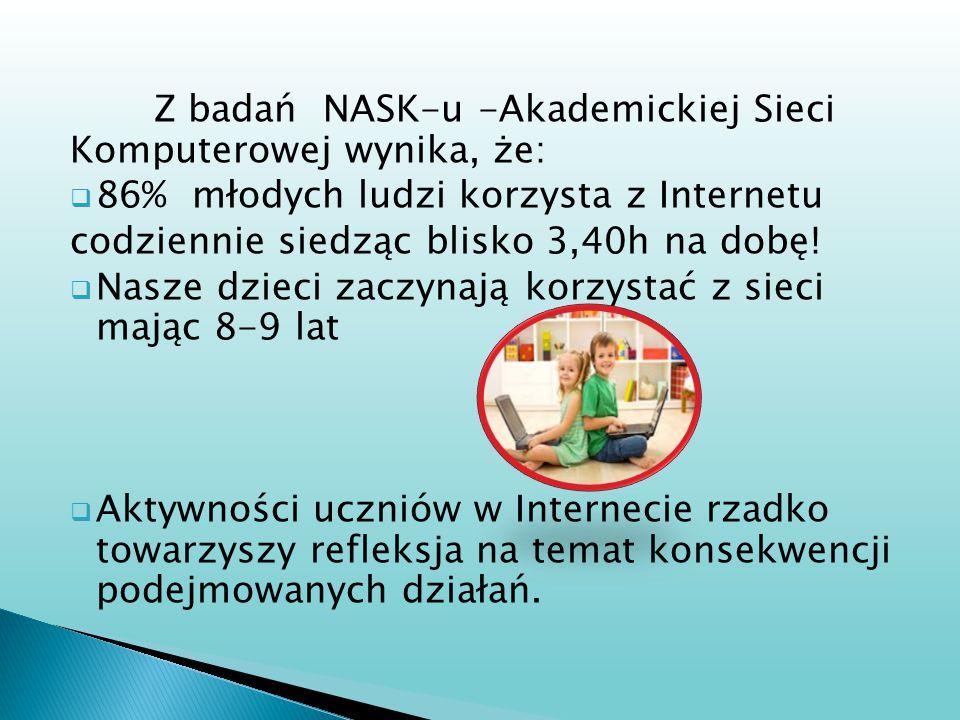 Z badań NASK-u -Akademickiej Sieci Komputerowej wynika, że: