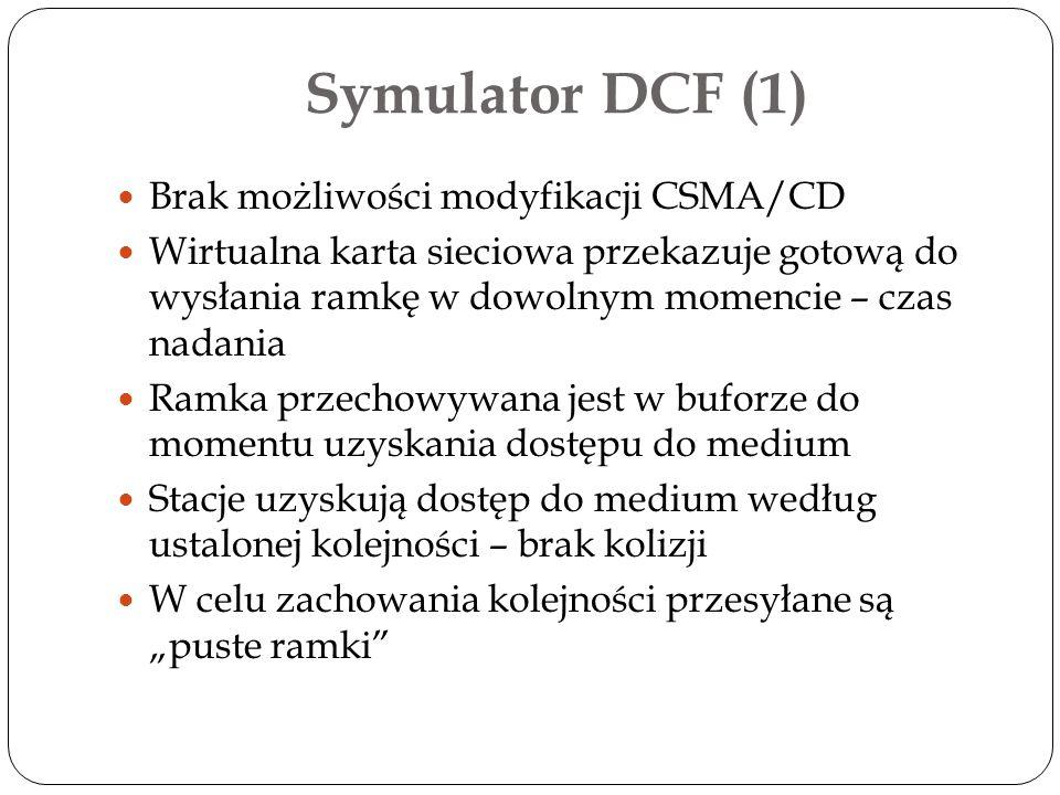 Symulator DCF (1) Brak możliwości modyfikacji CSMA/CD