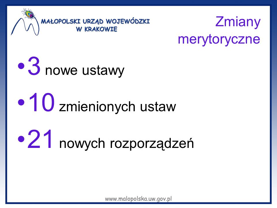 3 nowe ustawy 10 zmienionych ustaw 21 nowych rozporządzeń
