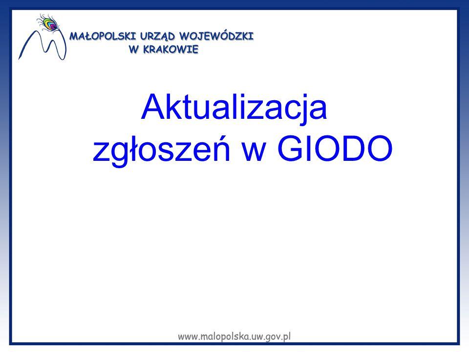 Aktualizacja zgłoszeń w GIODO