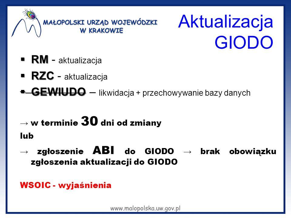 Aktualizacja GIODO RM - aktualizacja RZC - aktualizacja