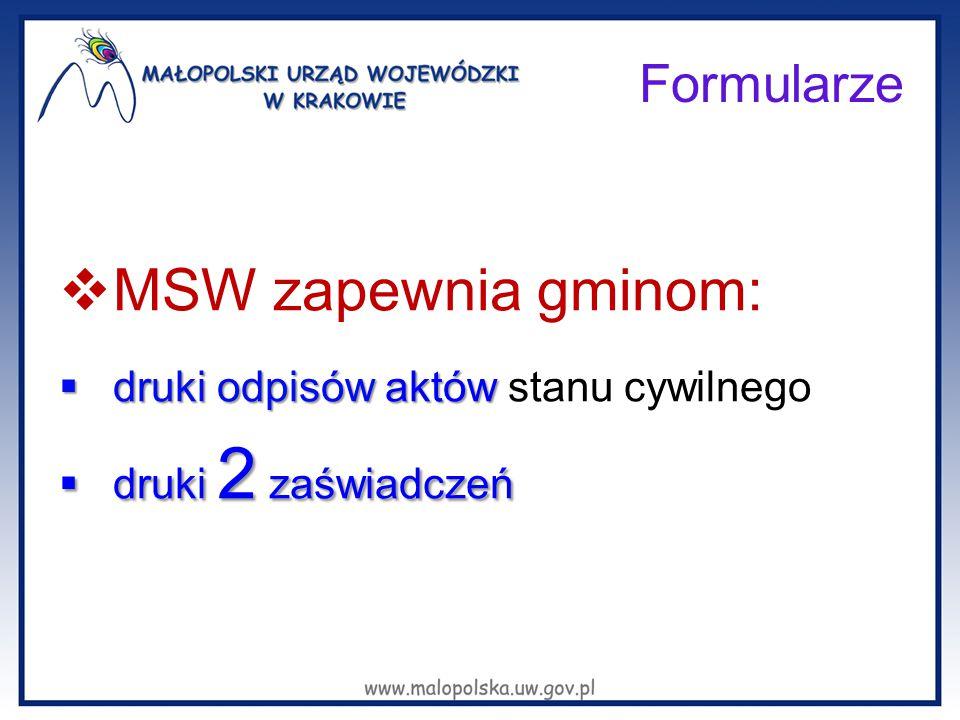 MSW zapewnia gminom: druki odpisów aktów stanu cywilnego