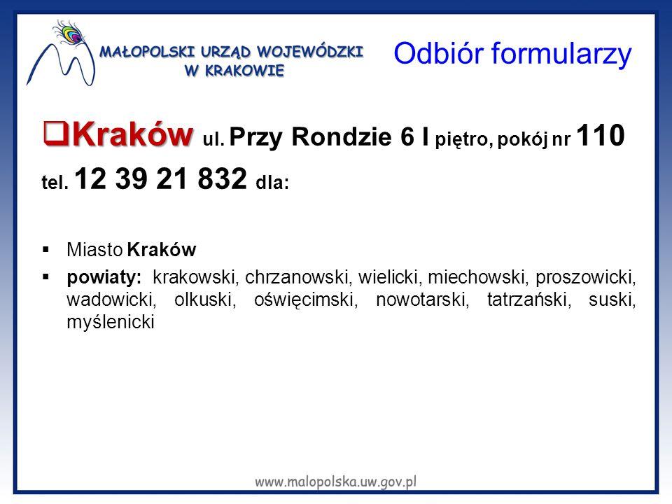 Odbiór formularzy Kraków ul. Przy Rondzie 6 I piętro, pokój nr 110