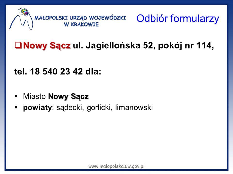 Odbiór formularzy Nowy Sącz ul. Jagiellońska 52, pokój nr 114,