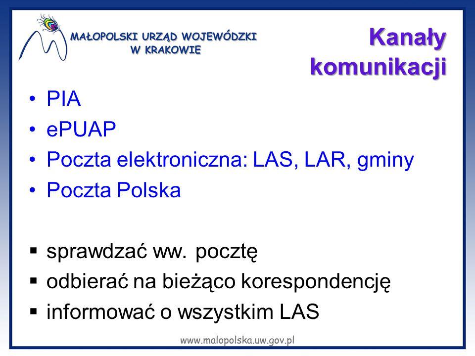 Kanały komunikacji PIA ePUAP Poczta elektroniczna: LAS, LAR, gminy