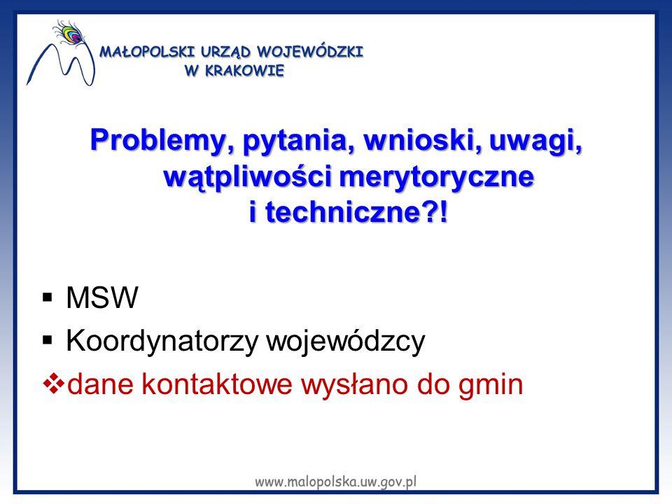 Problemy, pytania, wnioski, uwagi, wątpliwości merytoryczne i techniczne !