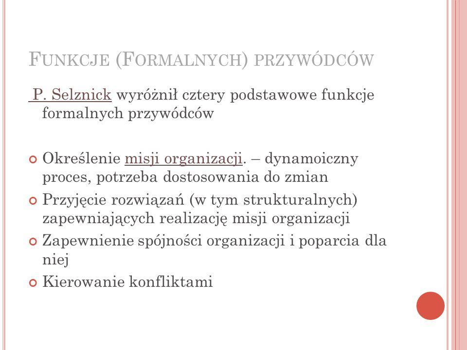 Funkcje (Formalnych) przywódców